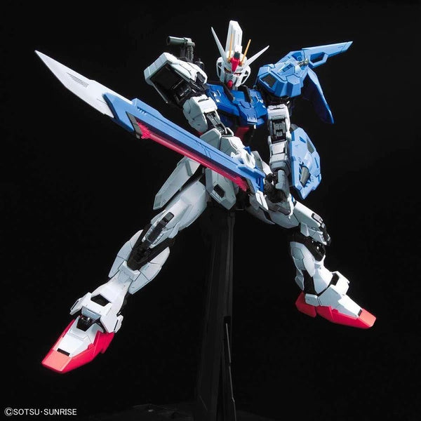 PRE-ORDER Bandai 1/60 PG Perfect Strike Gundam action pose with weapon. 2