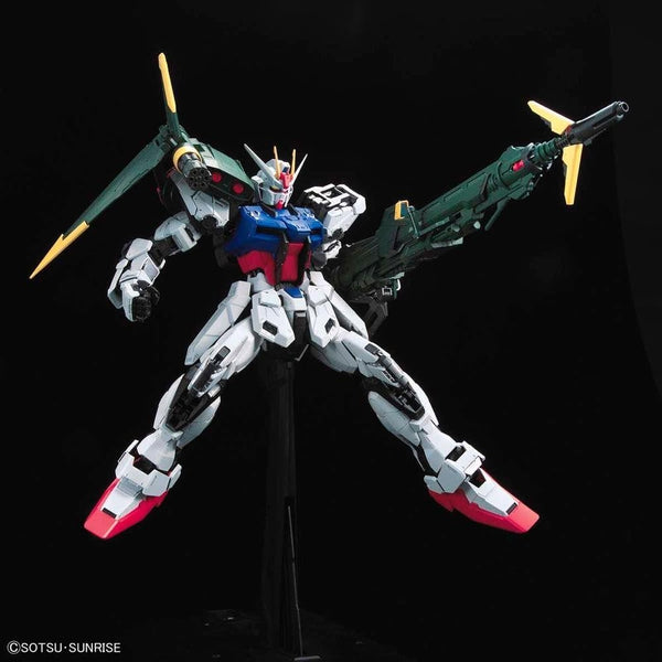PRE-ORDER Bandai 1/60 PG Perfect Strike Gundam action pose with weapon. 3