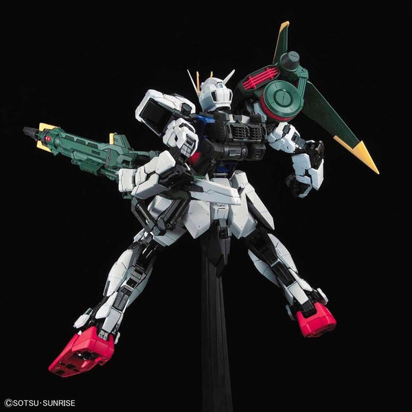 PRE-ORDER Bandai 1/60 PG Perfect Strike Gundam action pose  action pose with weapon.