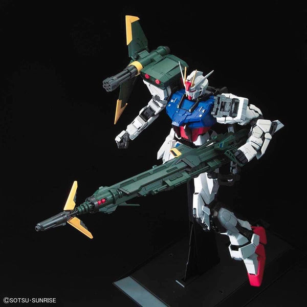 PRE-ORDER Bandai 1/60 PG Perfect Strike Gundam action pose  action pose with weapon. 2