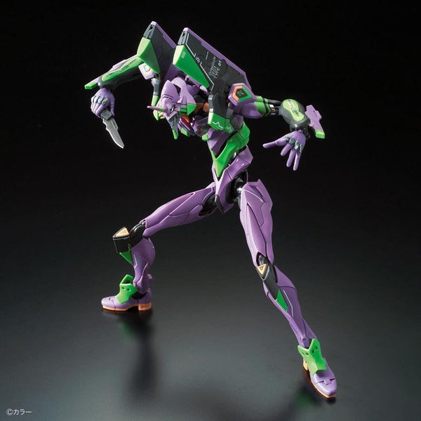 Bandai RG Evangelion Unit-01 Test Type action pose with weapon.