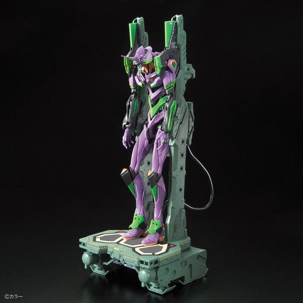 Bandai RG Evangelion Unit-01 Test Type (DX Transport Stand Set) front on view.