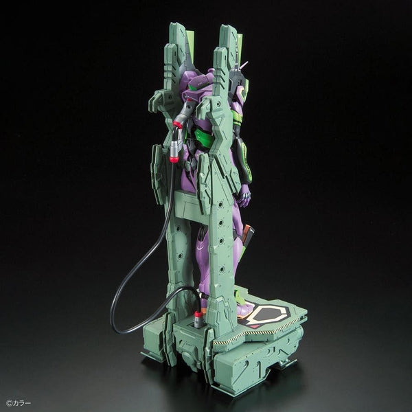 Bandai RG Evangelion Unit-01 Test Type (DX Transport Stand Set) rear view.
