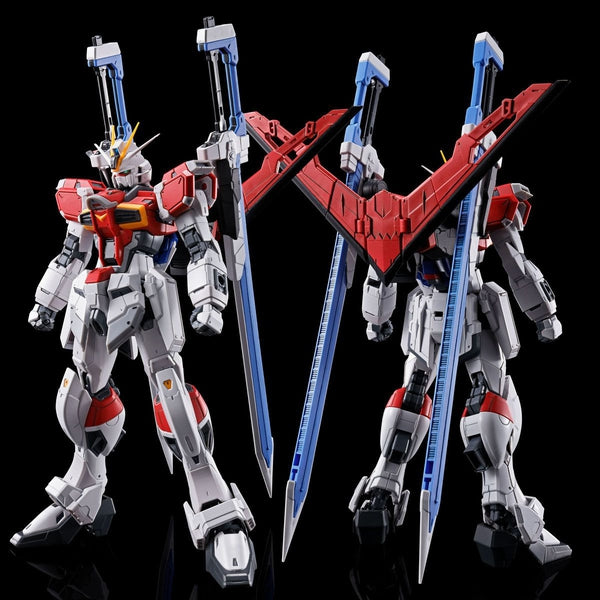 P-Bandai RG 1/144 Sword Impulse Gundam front on view and rear view.