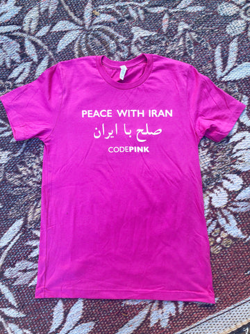 Peace With Iran Farsi Fitted Pink T Shirt