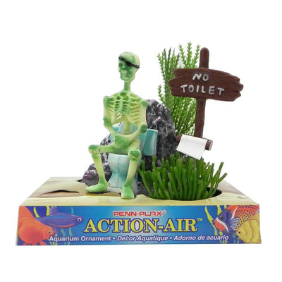 Action-Air air powered aquarium ornament (skeleton on toilet) - Allans Pet Center