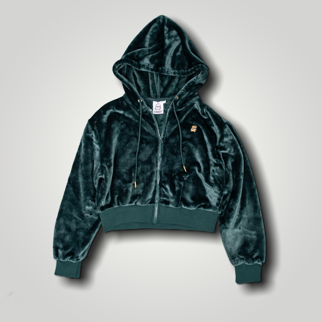 VELOUR FOREST GREEN CROPPED ZIP-UP