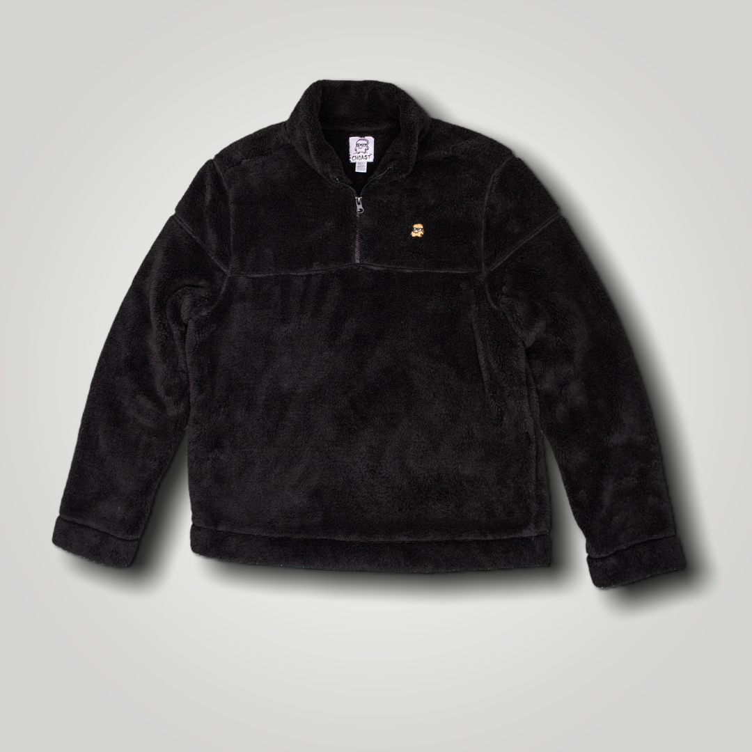 BLACK FUZZY QUARTER ZIP
