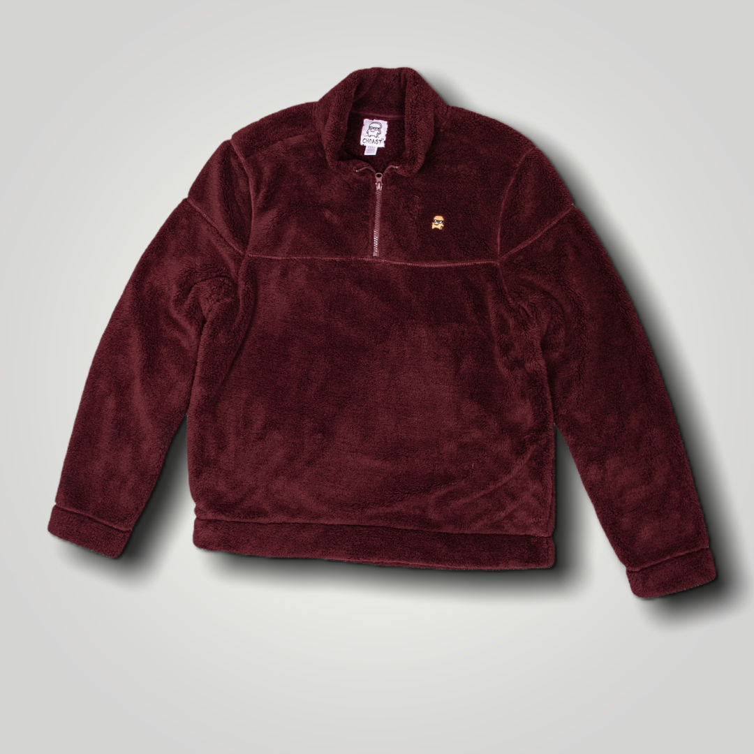 BURGUNDY FUZZY QUARTER ZIP