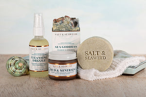 salt and seaweed infused cleansing skin care products