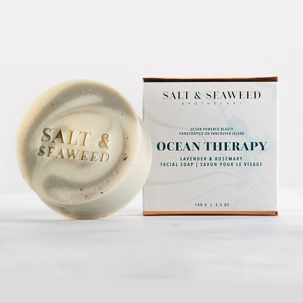 handmade seaweed infused facial soap with avocado oil, marine glacial sea-clay, dead sea mud and essential oils