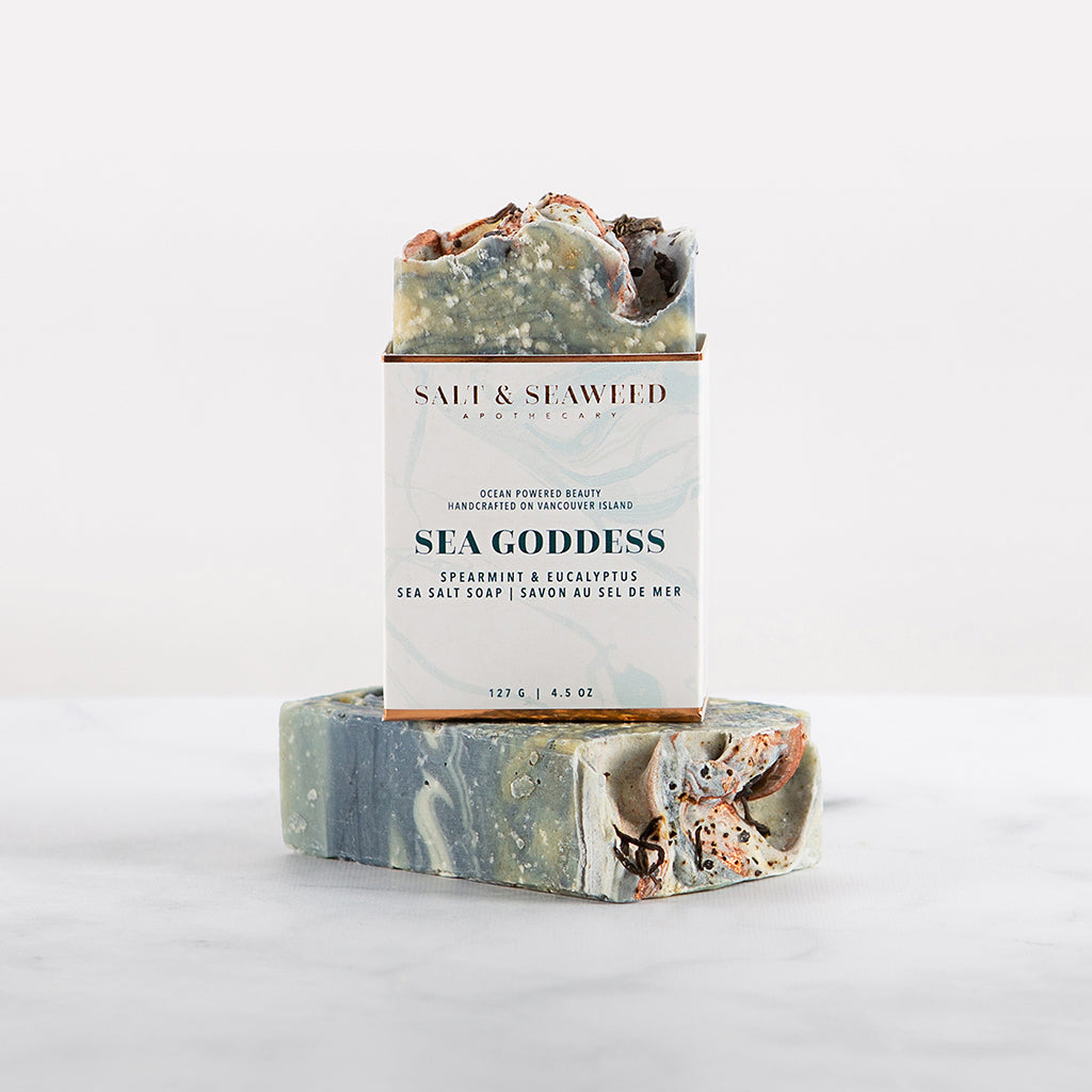 handcrafted seaweed infused sea salt soap with spearmint and eucalyptus essential oils