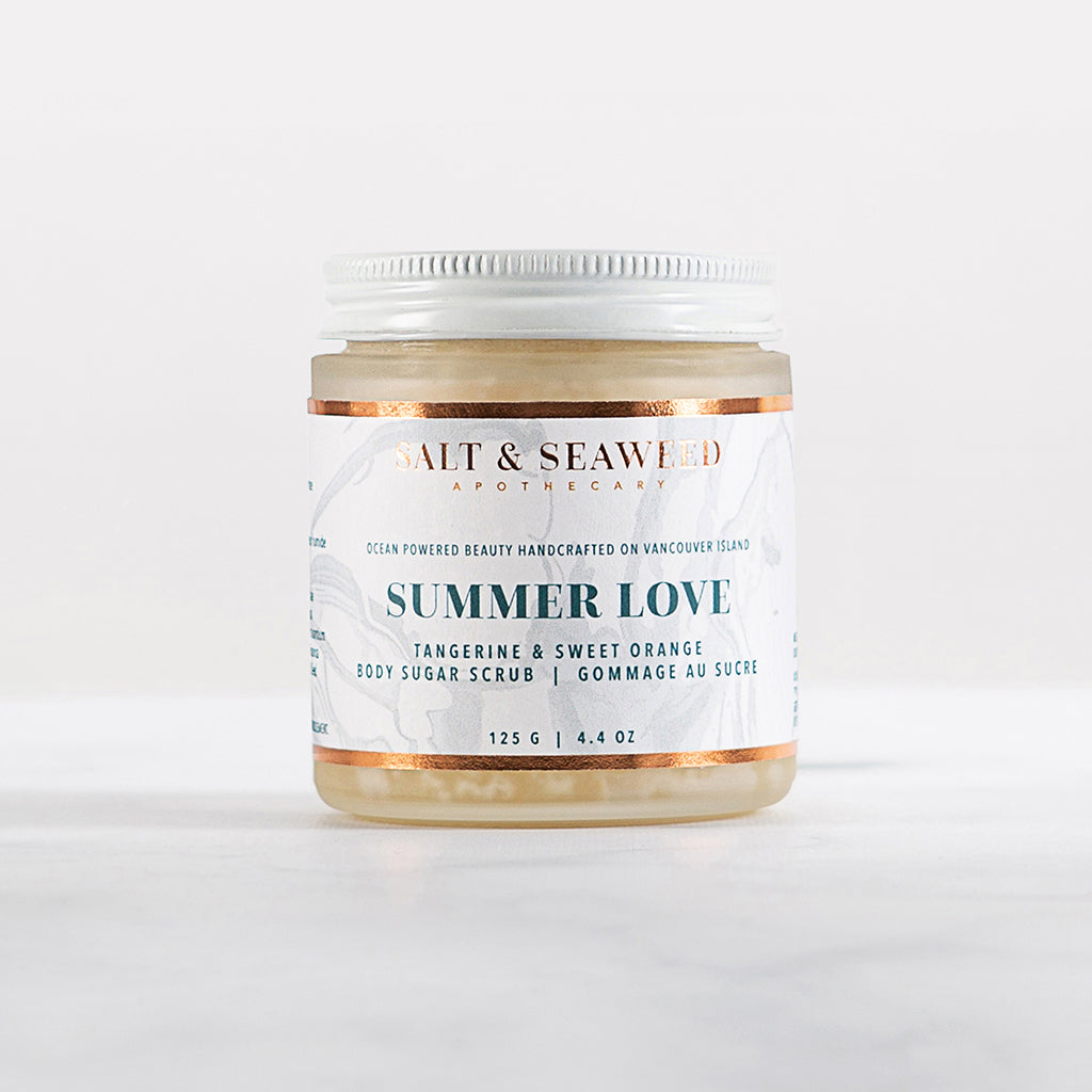 handcrafted seaweed infused shea butter sugar scrub with tangerine and sweet-orange essential oils