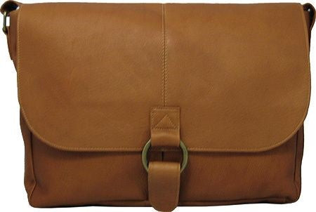 199 - East/West 1/2 Flap Messenger Bag. With Large Ring