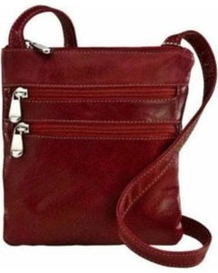 3734 - For that Italian leather look! Florentine 3 Zip cross body bag