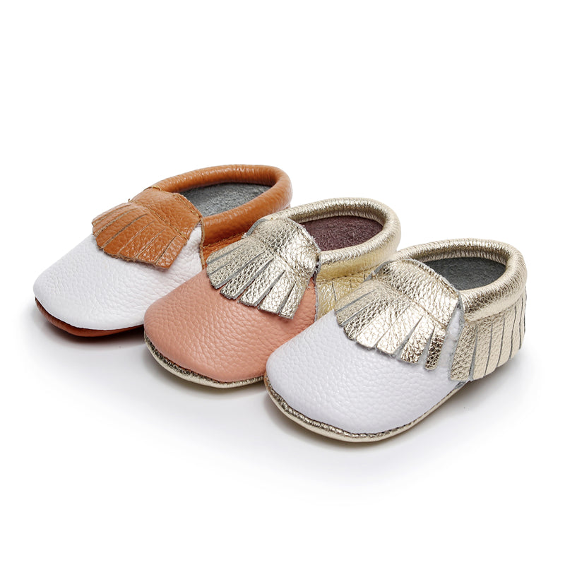 Bebila Baby Moccasins with Gold Bow Tassel First Walker Toddler Genuine Leather Shoes for Boys Girls