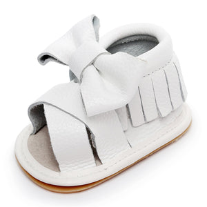 e38a32929 Bebila Baby Girls Sandals - Genuine Leather Summer White Bow Tassel Baby  Moccasins Shoes with Hard