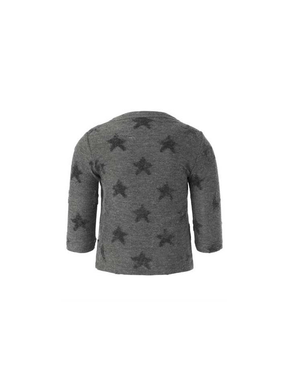 Noppies Unisex Longsleeve Wrap Tee- Grey Stars