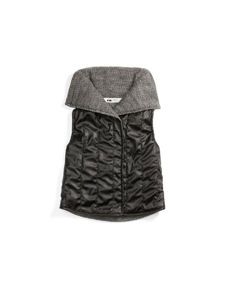 Omamimini Quilted Faux Leather Vest