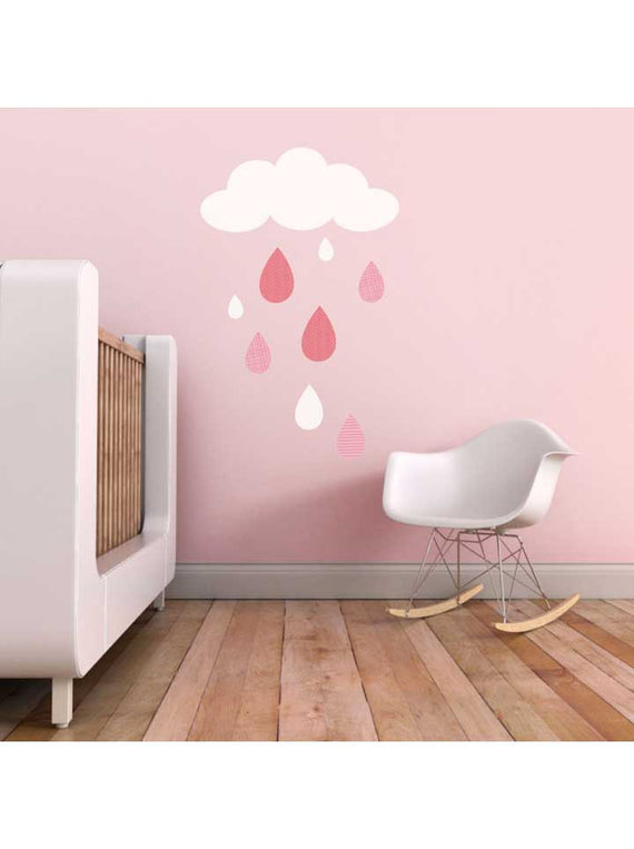 Trendy Peas Cloud and Raindrops Wall Decal - Pink