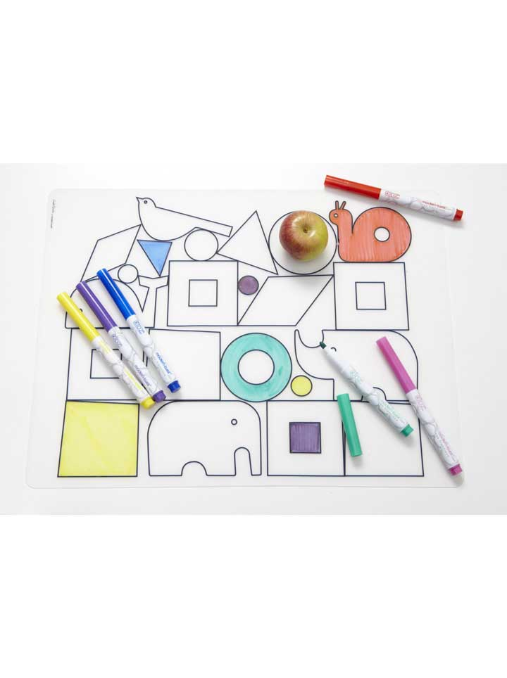 Modern Twist Animal Blocks Placemat + 6 markers