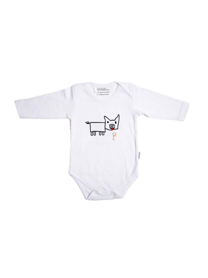 Coccolare Baby Cotton Long Sleeve Onesie- Peggy the Pig