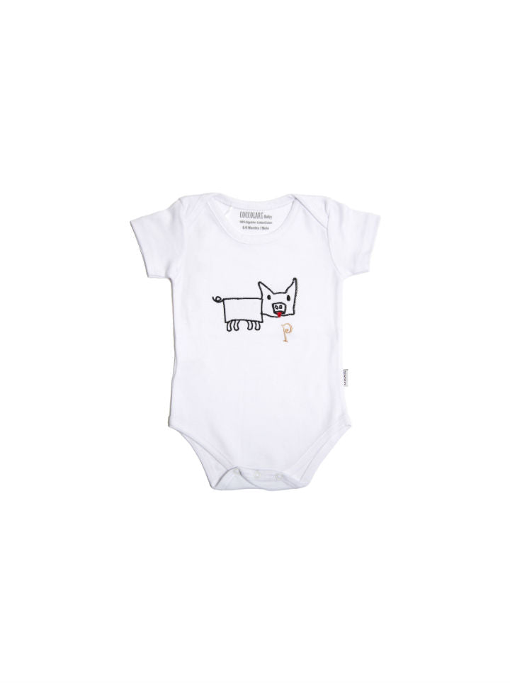 Coccolare Baby Cotton Short Sleeve Onesie - Peggy the Pig