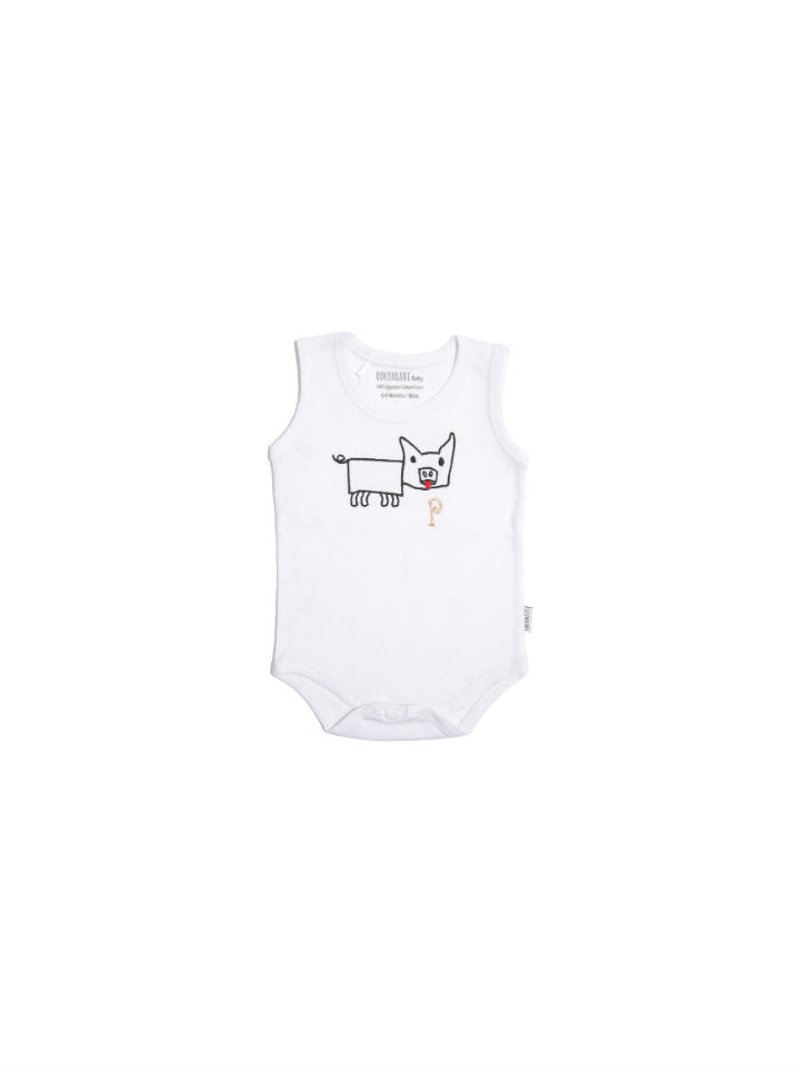 Coccolare Baby Cotton Tank Onesie - Peggy the Pig