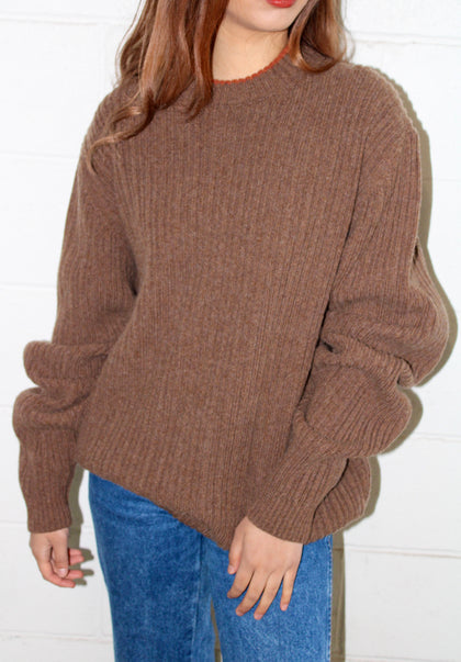 Merino Wool Coffee Sweater (XL)