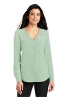Diligent Advisory Ladies Long Sleeve Button-Front Blouse
