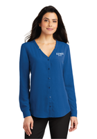 Elevate Ladies Long Sleeve Button-Front Blouse