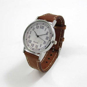 13 Hour Brown Leather Wrist Watch - TheExCB