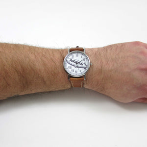 Akron Brown Leather Wrist Watch - TheExCB