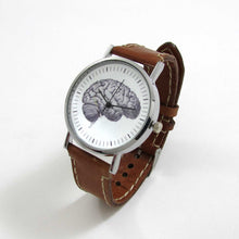 Load image into Gallery viewer, Anatomical Brain Brown Leather Wrist Watch - TheExCB