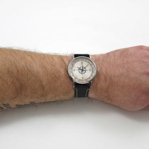 Compass Black Leather Wrist Watch - TheExCB
