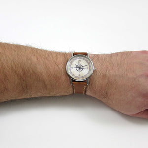 Compass Brown Leather Wrist Watch