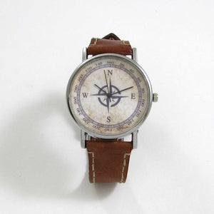 Compass Brown Leather Wrist Watch - TheExCB