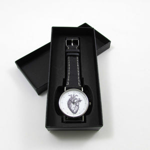 Anatomical Heart Black Leather Wrist Watch - TheExCB