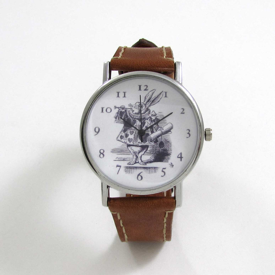 Alice in Wonderland Brown Leather Wrist Watch - TheExCB