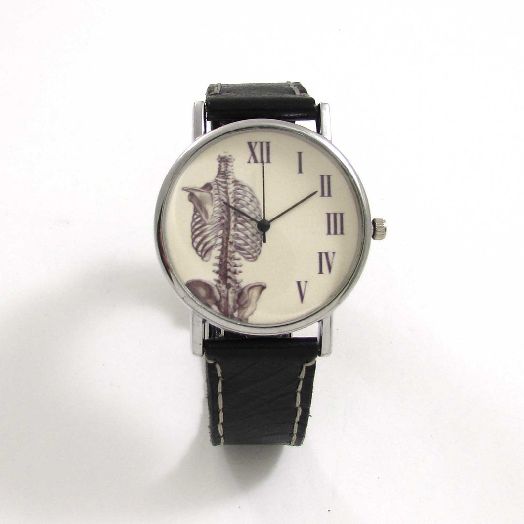 Anatomical Rib Black Leather Wrist Watch