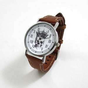 Skull King Brown Leather Wrist Watch - TheExCB