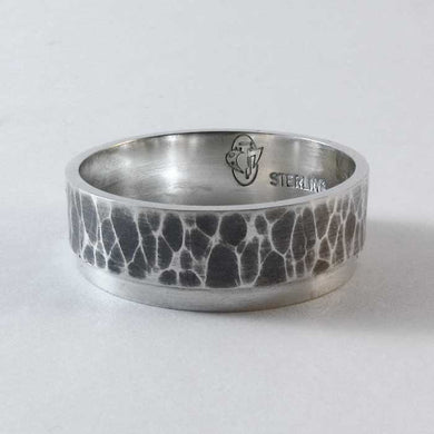 Split Level Hammered Wedding Band - TheExCB