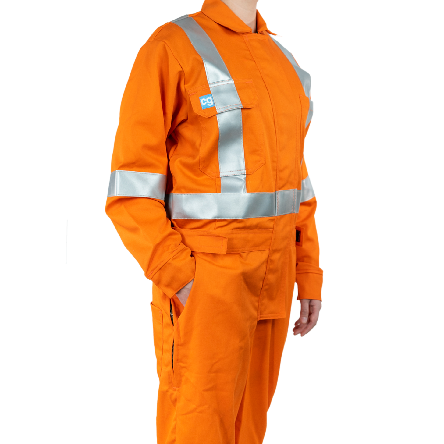 Blonde woman wearing orange Covergalls branded coverall safety garment.