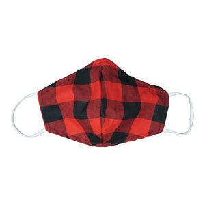 Washable Red Plaid Fabric Face Mask [OS]