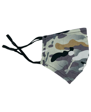Washable Children's Fabric Face Mask [6-12] Camo Print - Black/Grey