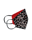 Washable Fabric Leopard Print Face Mask, OS