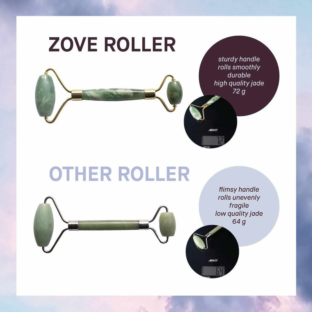 Zove Beauty Jade Facial Roller and Gua Sha Authentic Genuine