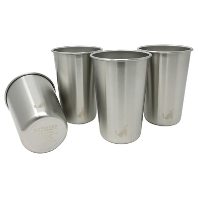 16oz Single Wall Stainless Steel Cups / Pint Glasses, set of 4