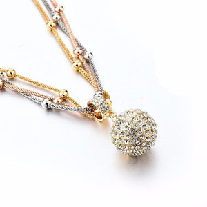 SHINE BALL NECKLACE WITH RHINESTONE PENDANT | Top Fashion Lab