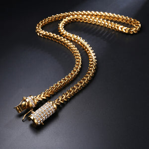 Hip Hop Cuban Box Chain With Rhinestone Necklace
